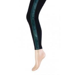 Dames zwarte lange legging met een groen bandje aan de zijkant
