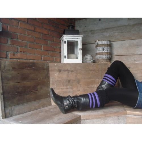 Beenwarmer zwart met paars