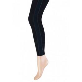 Zwarte dames legging lang met een blauw bandje aan de zijkant