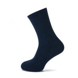 Damessok Teckel wolmix uni 2-pack marineblauw