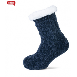 Homesocks chenille met kabel marineblauw.