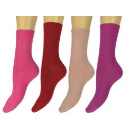 Katoenen sokken zonder voelbare teennaad 4 pak rose