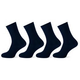 Katoenen sokken zonder voelbare teennaad 4 pak marineblauw