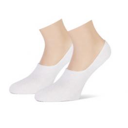 Invisible badstof katoenen sneakersokjes wit, 2 paar.