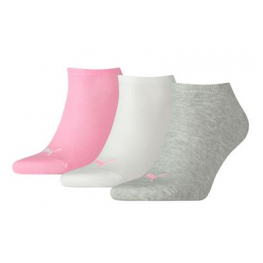 Puma sneakersokjes rose/grijs 3-pack