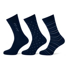 Heren sokken met een klein dessin marineblauw
