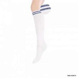 Kinderkniekous wit met een navy streepje
