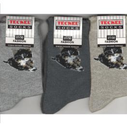 Sokken met een poesje in verschillende kleuren 3 pak.