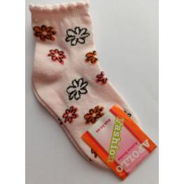Meisjes sokje licht rose met bloemetjes.