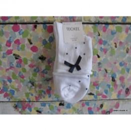Witte sokjes met een blauwe stippen