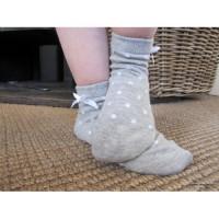 Meisjes sok grijs met strikje