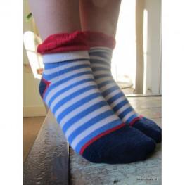 Meisjes sokje kort blauwgestreept